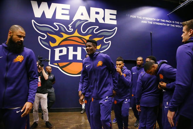 Phoenix Suns rookie Deandre Ayton makes debut against the Dallas Mavericks during the season opener at Talking Stick Resort Arena on Oct. 17, 2018, in Phoenix, Ariz.
