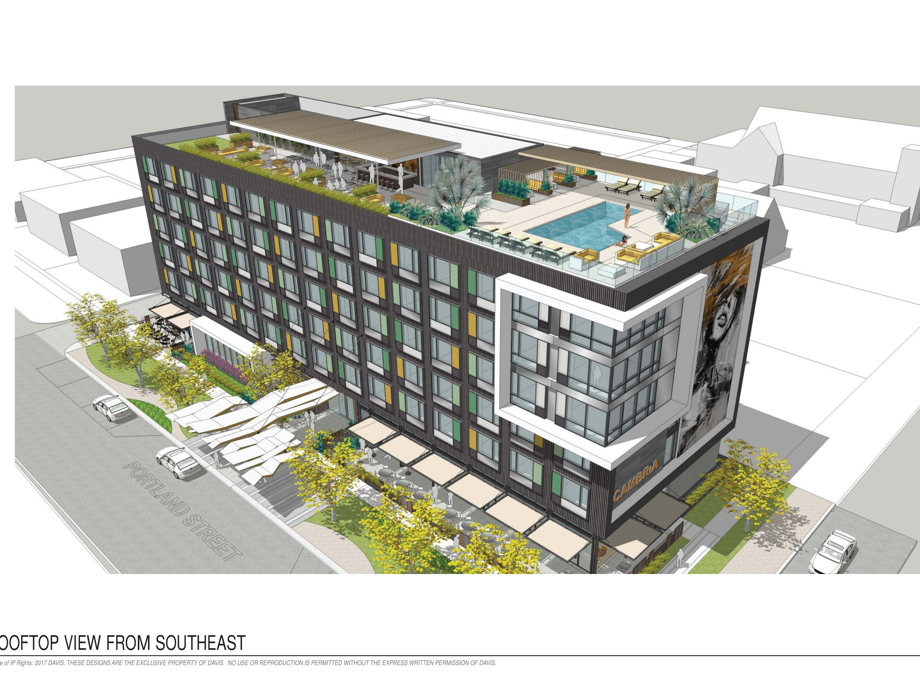 Renderings of the rooftop on the seven-story Cambria hotel going up in downtown Phoenix's Roosevelt Row.