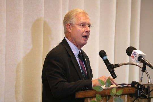 State Rep. Steve Arndt, R-Port Clinton, speaks during the Candidates' Night organized by the Port Clinton Business and Professional Women last year. This week, Arndt announced his plan to retire in July.