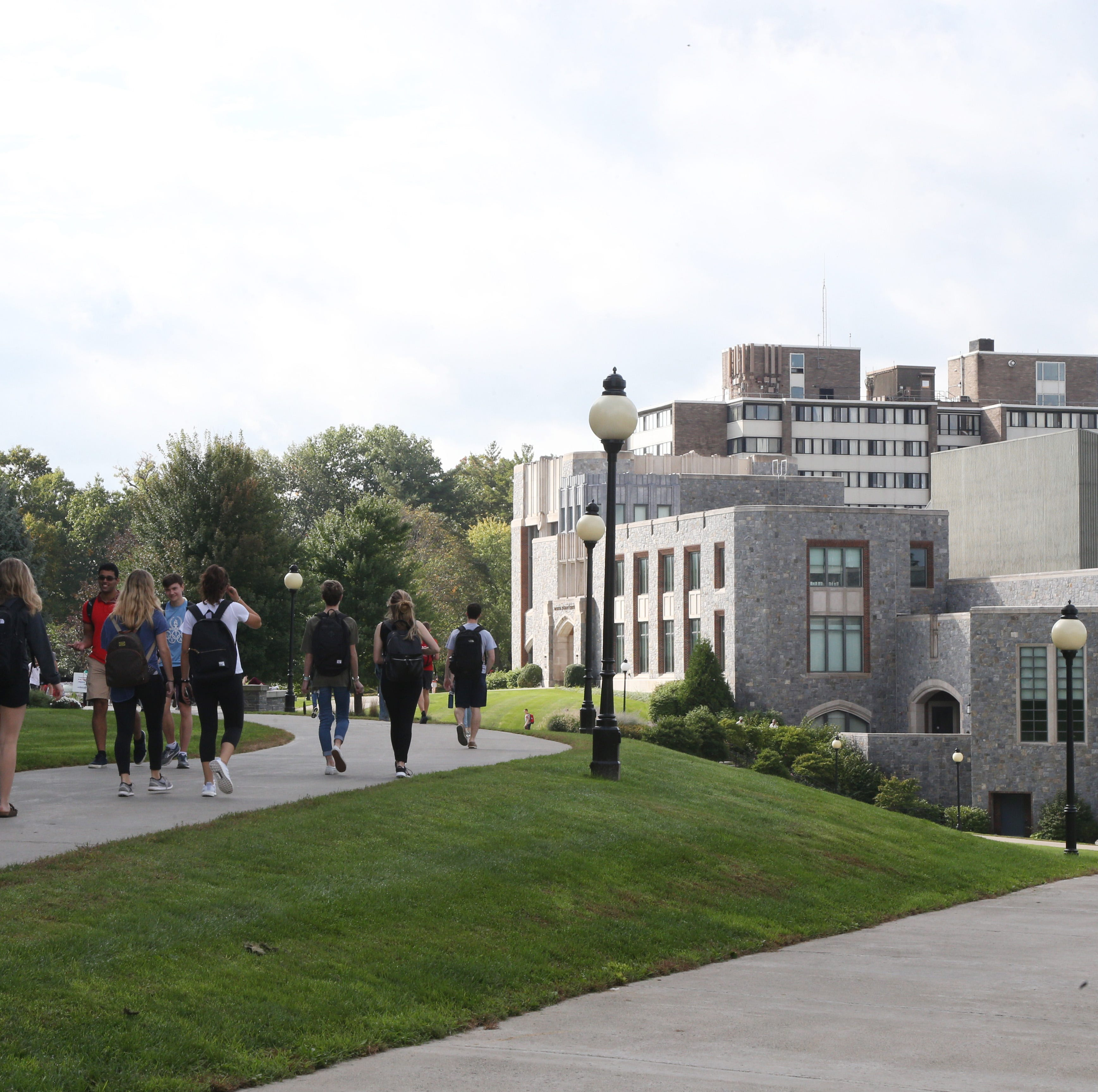 Students walk passed the Murray Student Center  at Marist College on October 10, 2018.
