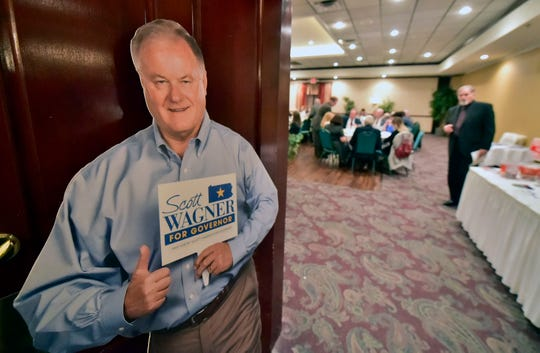 A cutout of Scott Wagner greets visitors in Chambersburg. Scott Wagner, candidate for Pennsylvania Governor, was the keynote speaker at the Franklin County Republican Committee's annual Eisenhower Day Dinner on Wednesday, October 17, 2018 at Orchards Restaurant.