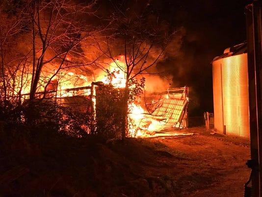 Barn Fire Springfield Twp 10 18 2