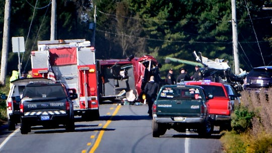 Units respond to a fatal vehicle accident on Delta Road in Chanceford Township Thursday, October 18, 2018. The accident occurred near Bacon Road. Bill Kalina photo