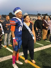 Diontae Wilson, left, and Jacqueline Vargas and are crowned York High's 2018 homecoming king and queen. This year the school based its picks on the students' fund raising efforts.