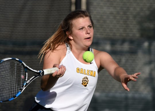 Galena's Kaija Hess hits a forehand to Eleni Ciulla of Faith Lutheran in the state team simifinals at Bishop Manogue High School on Oct 17, 2018.