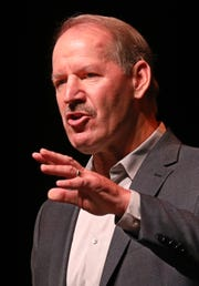 Pittsburgh Steelers legendary head coach Bill Cowher talks about his life in football during his speech at the 29th annual Ben R. Giambrone Compeer Rochester Sports Luncheon Thursday, Oct. 18, 2018 in downtown Rochester.