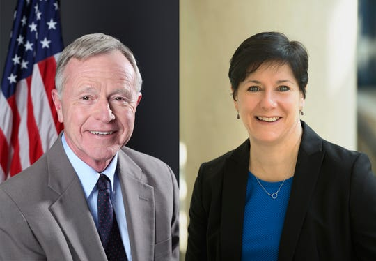 """Candidates running for mayor in Fairport in 2018: Incumbent Frederick """"Fritz"""" May and Julie Domaratz (Teachman)."""