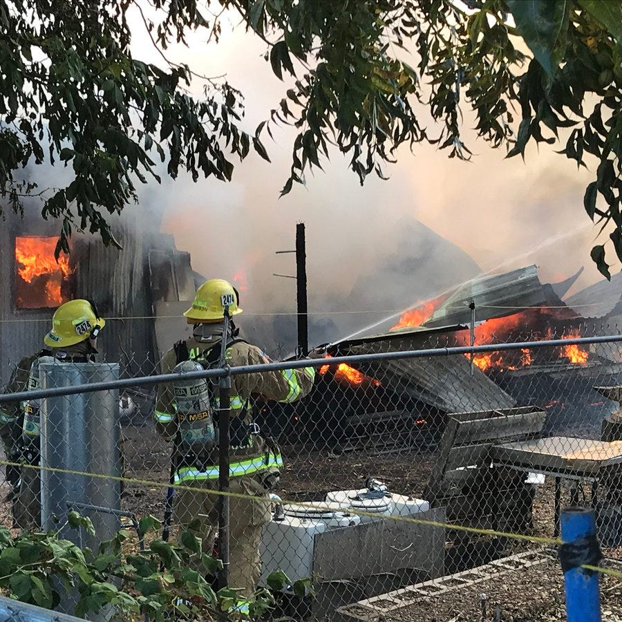 Fire north of Anderson destroys construction business shop