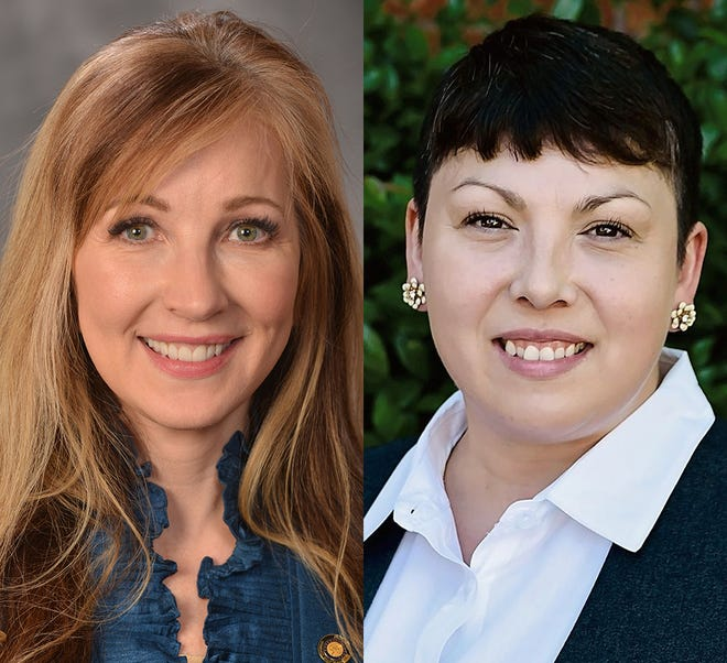 From left, incumbent Kim Thatcher and challenger Sarah Grider.