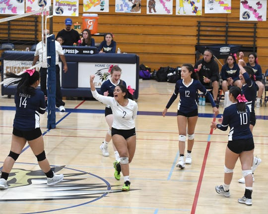 Alvarez's Ashley Noble (2) cheers during their game against Alisal Oct. 16.