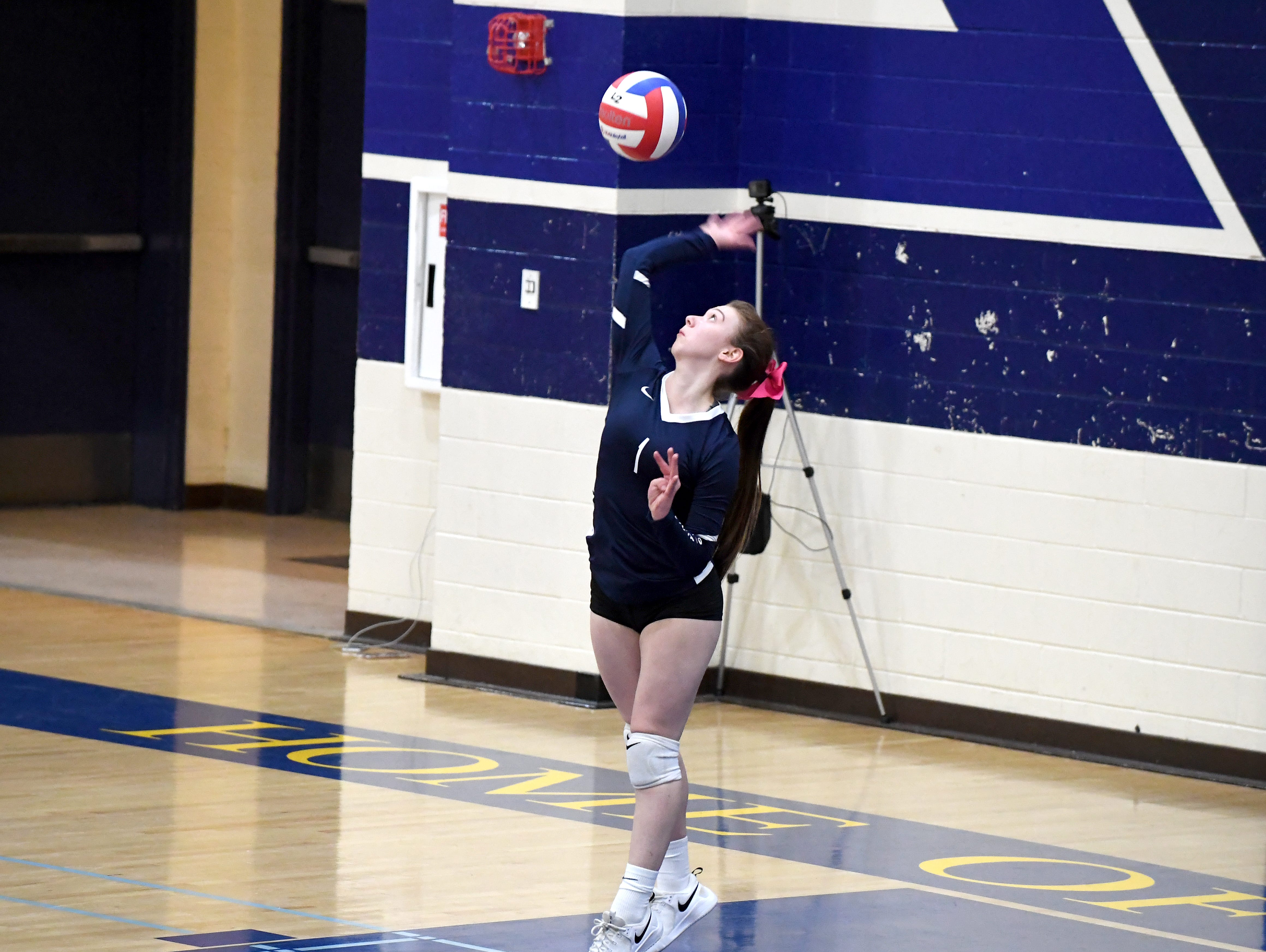 Alvarez's Karmyn Anderson serves the ball during the game against Alisal Oct. 16.