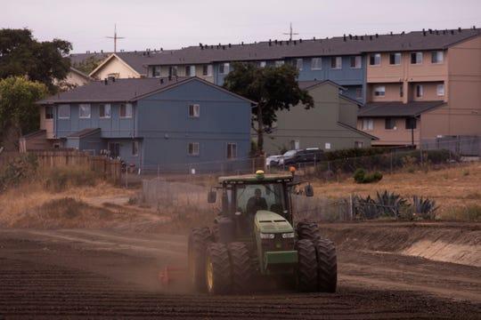En esta foto del miércoles 5 de septiembre de 2018, un tractor ara el campo cerca de edificios de departamentos en Salinas, California. Salinas es un lugar accesible en comparación con Silicon Valley, donde los precios promedio de las viviendas son de alrededor de $1 millón, pero con una población menos acaudalada y un precio promedio por vivienda que ha subido a alrededor de $550,000, es uno de los lugares menos accesibles para vivir en los Estados Unidos. (Foto de AP/Jae C. Hong)