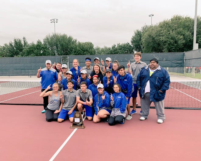 The Lake View High School tennis team poses for a team picture with their area-round playoff trophy. The Chiefs and Maidens defeated Glen Rose in Brownwood, Thursday, Oct. 18, 2018, to advance to the regional quarterfinals in team tennis.