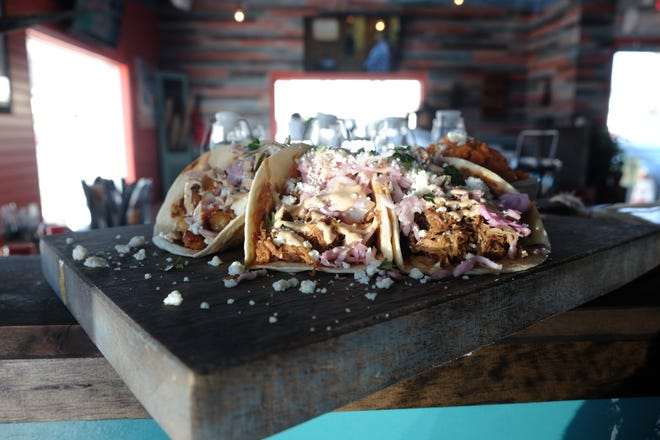 Sirveza in Dewey Beach has a host of taco fillings, from blackened shrimp to cauliflower, all topped with crumbly queso, smoky chipotle sauce and pickled cabbage for bite.