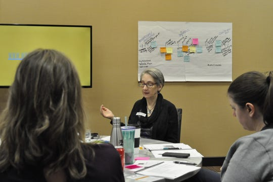 Lauren Taylor, director of Safe Bars, works with a group of Sioux Falls advocates and bar managers on how to intervene in sexual assault situations in bars and restaurants as part of Safe Bars training on Thursday, Oct. 18, 2018.