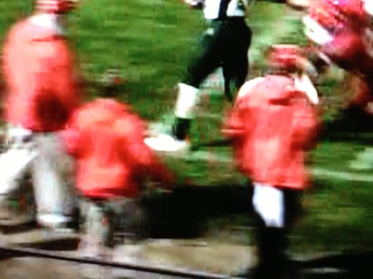 A photo that some Riverheads' fans believe shows Wilson Memorial quarterback Mack Cullen stepping out of bounds on a long touchdown run during a 2012 regular-season game.
