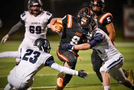 Tech's Troy Feddema rushes during the first half of the Wednesday, Oct. 17 game against Bemidji at Husky Stadium in St. Cloud.