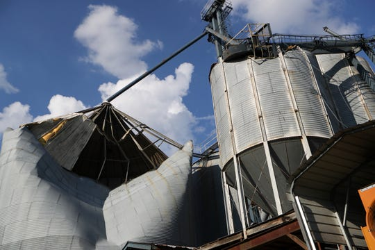 A grain bin at Rentz Farm Supply Inc. in Brinson, Ga. is destroyed by Hurricane Michael Wednesday, Oct. 18, 2018.