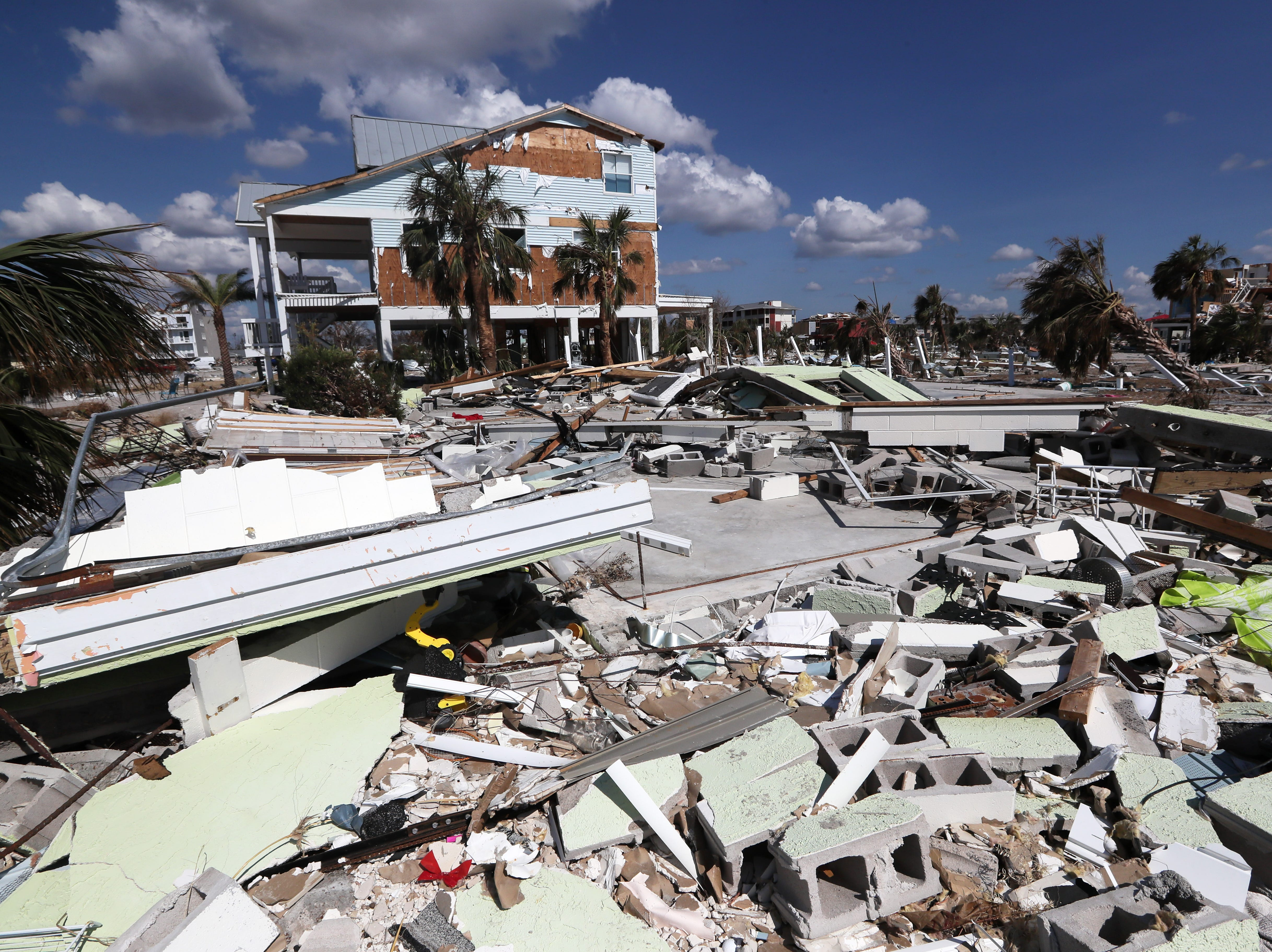 Rubble is all that is left of beach homes along Mexico Beach on Wednesday, Oct. 17, 2018, one week after Hurricane Michael ripped through the coastal Florida town.