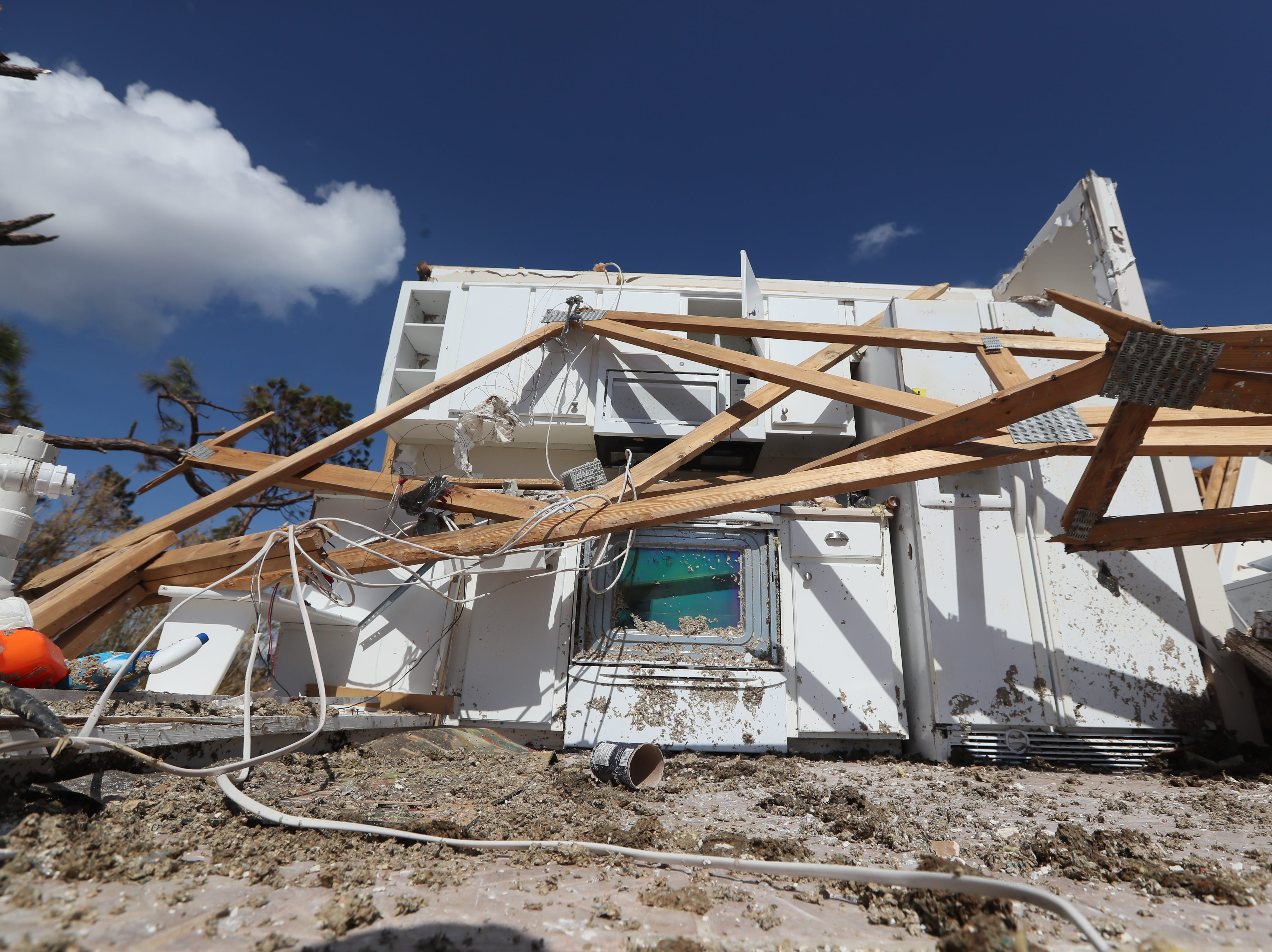 in Mexico Beach on Wednesday, Oct. 17, 2018, one week after Hurricane Michael ripped through the coastal Florida town.