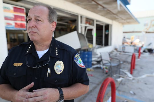 Police Chief Anthony Kelly looks out over the devastation he is dealing with in Mexico Beach on Wednesday, Oct. 17, 2018, one week after Hurricane Michael ripped through the coastal Florida town.