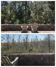 A before and after photo of a Marianna Caverns scenic site