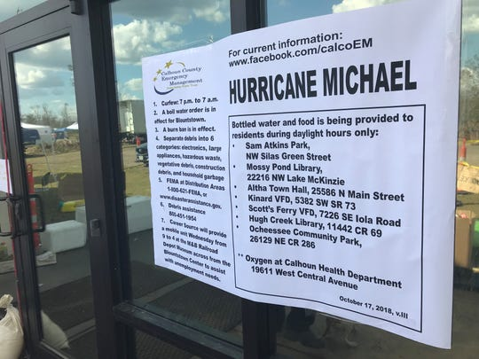 Hurricane Michael notice posted on the front door of the Mossy Pond Public Library and Community Center.