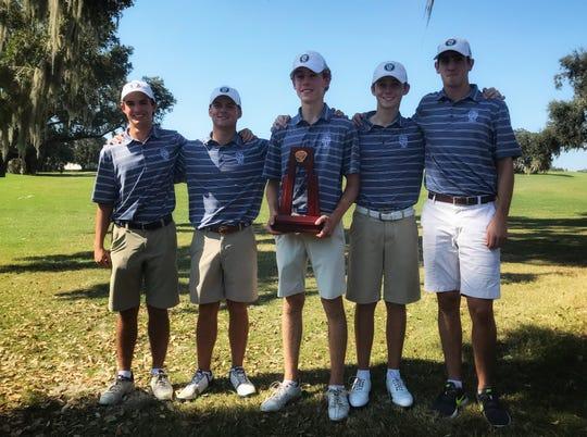 Maclay's boys golf team won a District 1-1A title at Southwood Golf Club, shooting 309. From left: Carter Shipman, Miller Shelfer, medalist Cole Miller, Patrick McCann, Jack Murrah.
