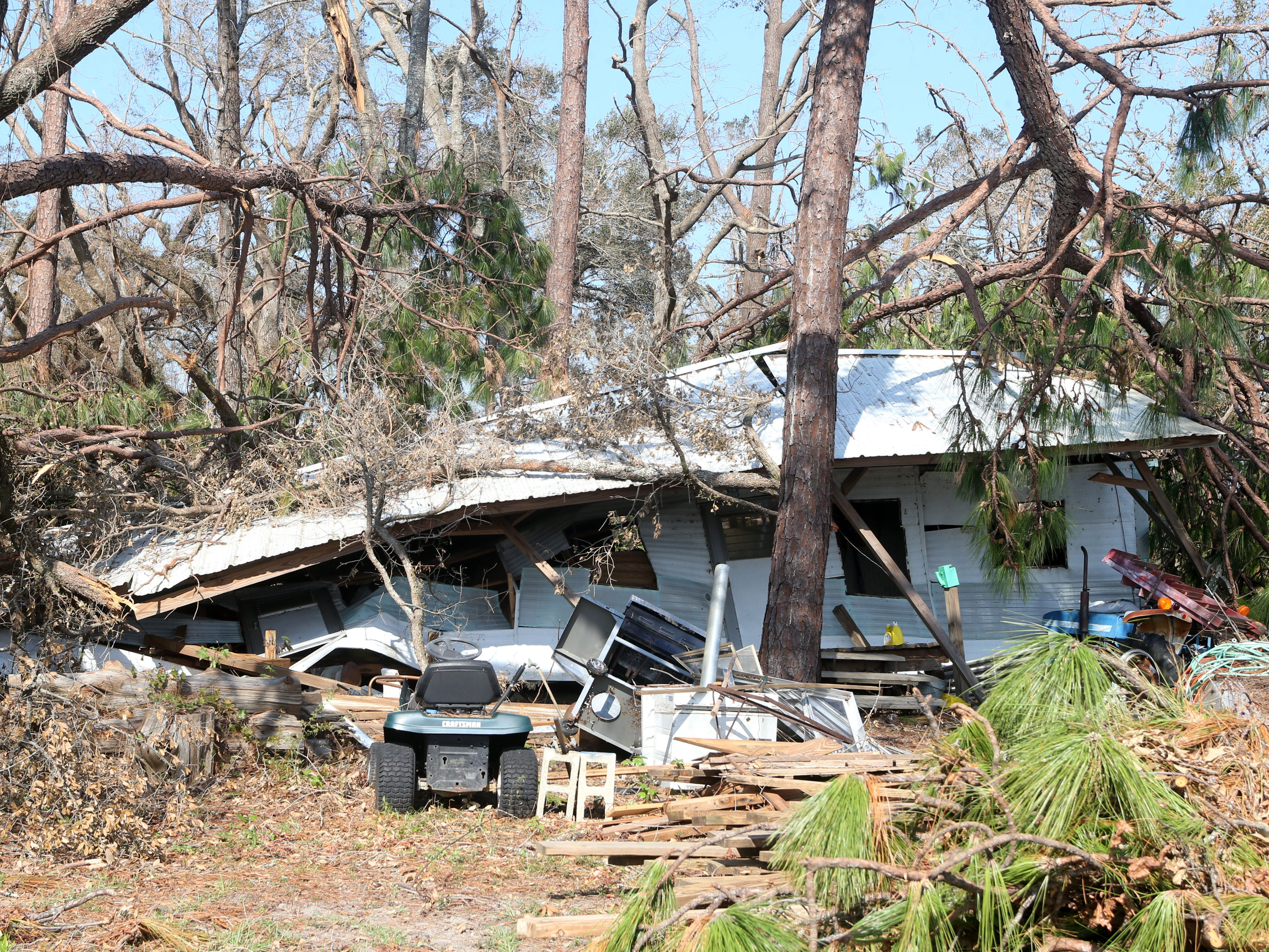 Eugene Radney's pole barn after Hurricane Michael. Eugene is the grandfather of Sarah Radney, an 11 year old girl who died during Hurricane Michael in Donalsonville, Ga. on Thursday, Oct. 18, 2018.