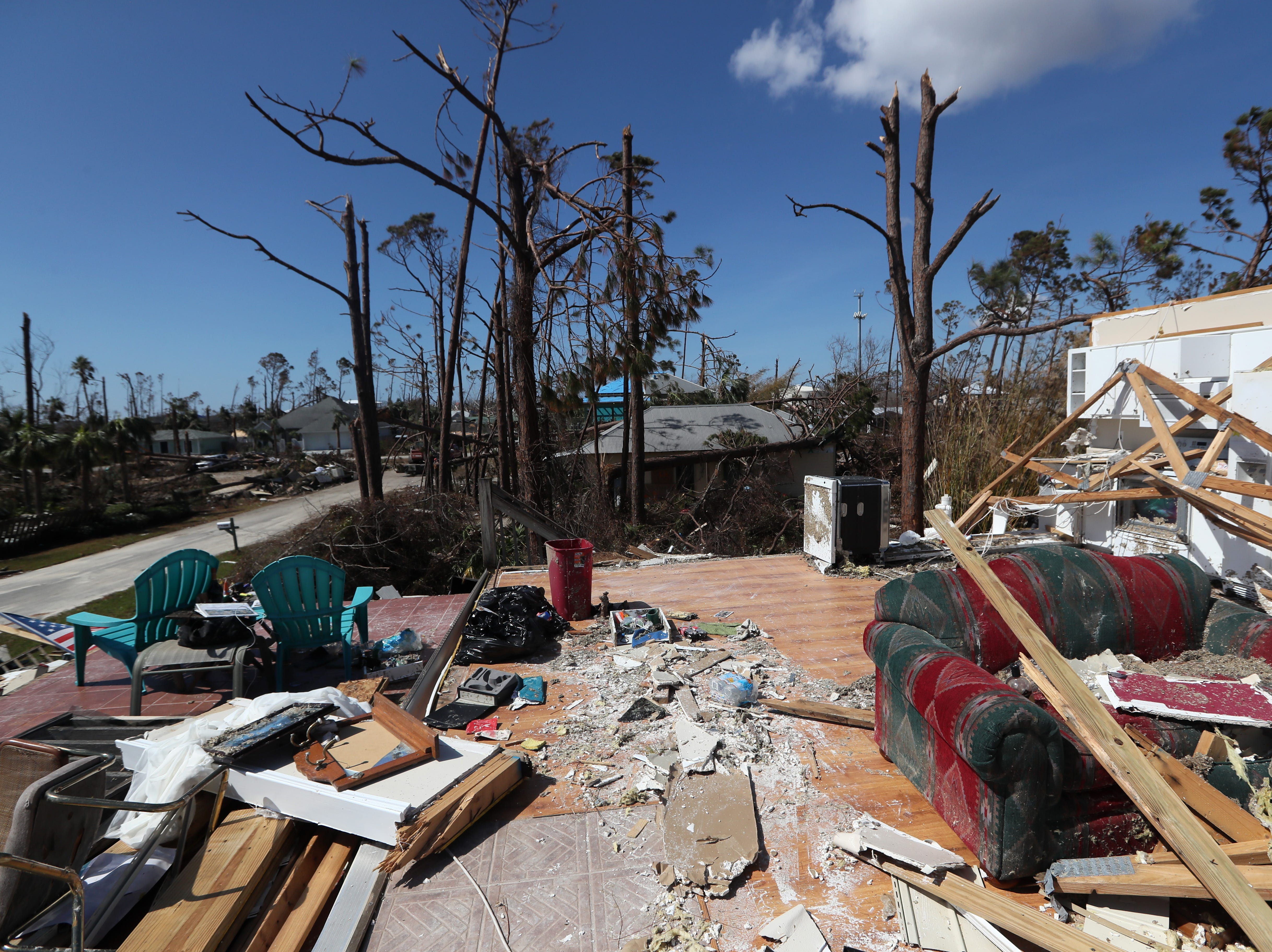 Mexico Beach resident Rick Barnes second-floor home, which was left destroyed on Wednesday, Oct. 17, 2018, one week after Hurricane Michael ripped through the coastal Florida town.