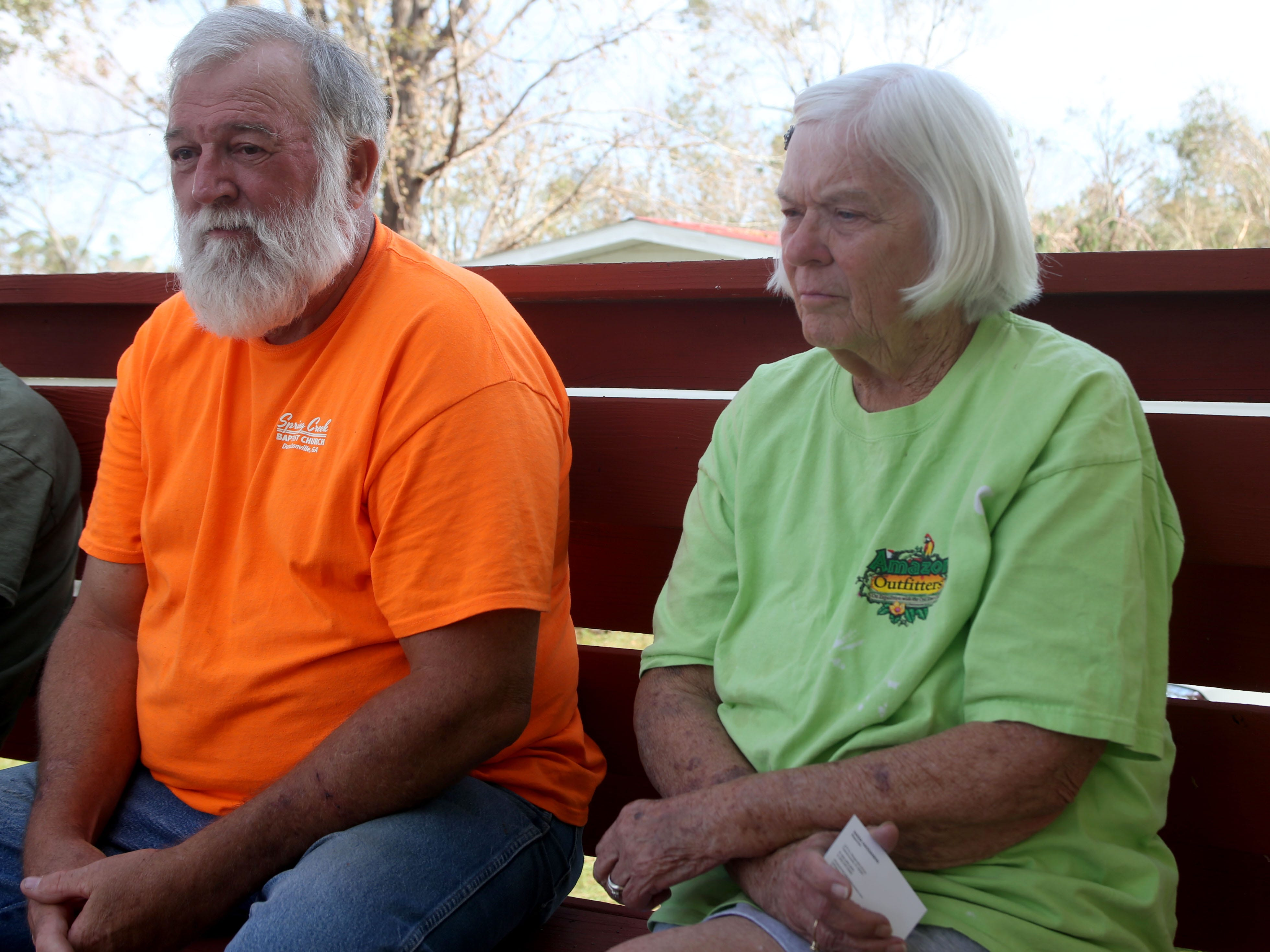 Eugene Radney, grandfather and Elizabeth Radney, grandmother of Sarah Radney, an 11 year old girl who died during Hurricane Michael in Donalsonville, Ga., as Eugene speaks about what took place during the hurricane on Thursday, Oct. 18, 2018.