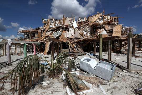 A mass of broken wood rest atop pillings on what was once home along the sand in Mexico Beach on Wednesday, Oct. 17, 2018, one week after Hurricane Michael ripped through the coastal Florida town.