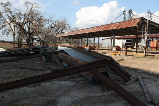 A drying shed at Rentz Farm Supply Inc. in Brinson, Ga. is destroyed after Hurricane Michael Wednesday, Oct. 17, 2018.