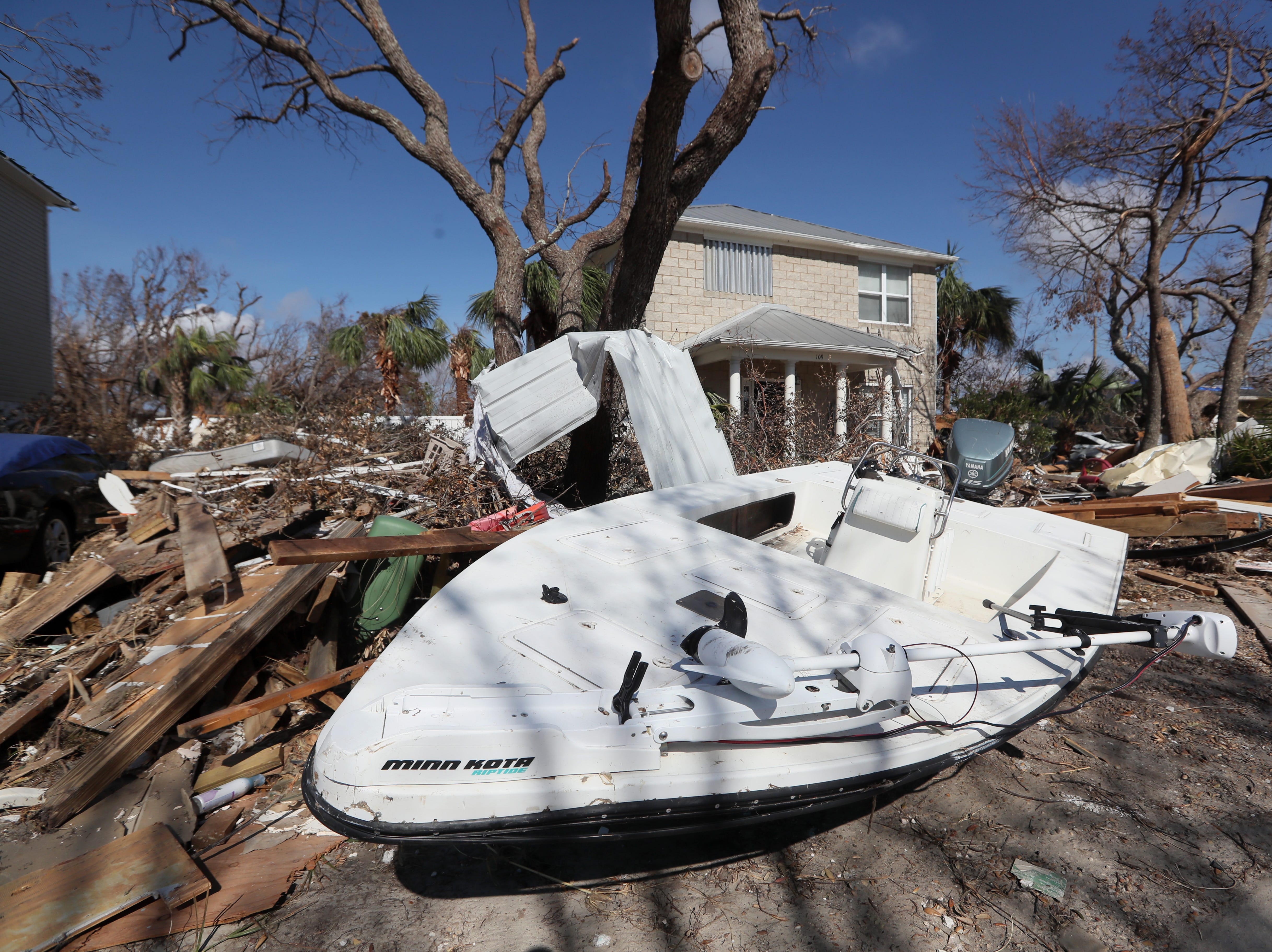 Houses are left nearly demolished in Mexico Beach on Wednesday, Oct. 17, 2018, one week after Hurricane Michael ripped through the coastal Florida town.