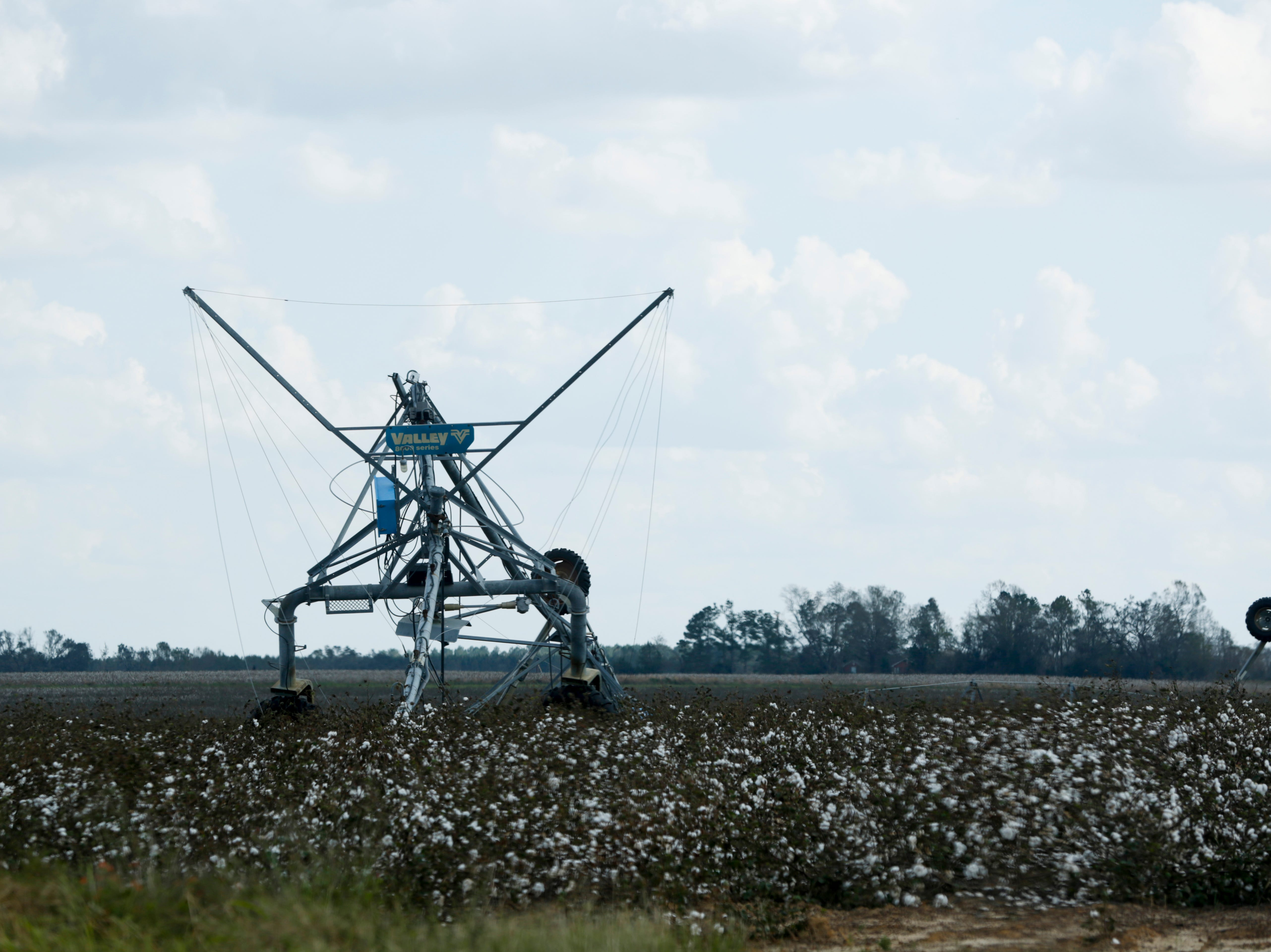 An irrigation system is upside down in a cotton field near Donalsonville, Ga. in the aftermath of Hurricane Michael Wednesday, Oct. 17, 2018.