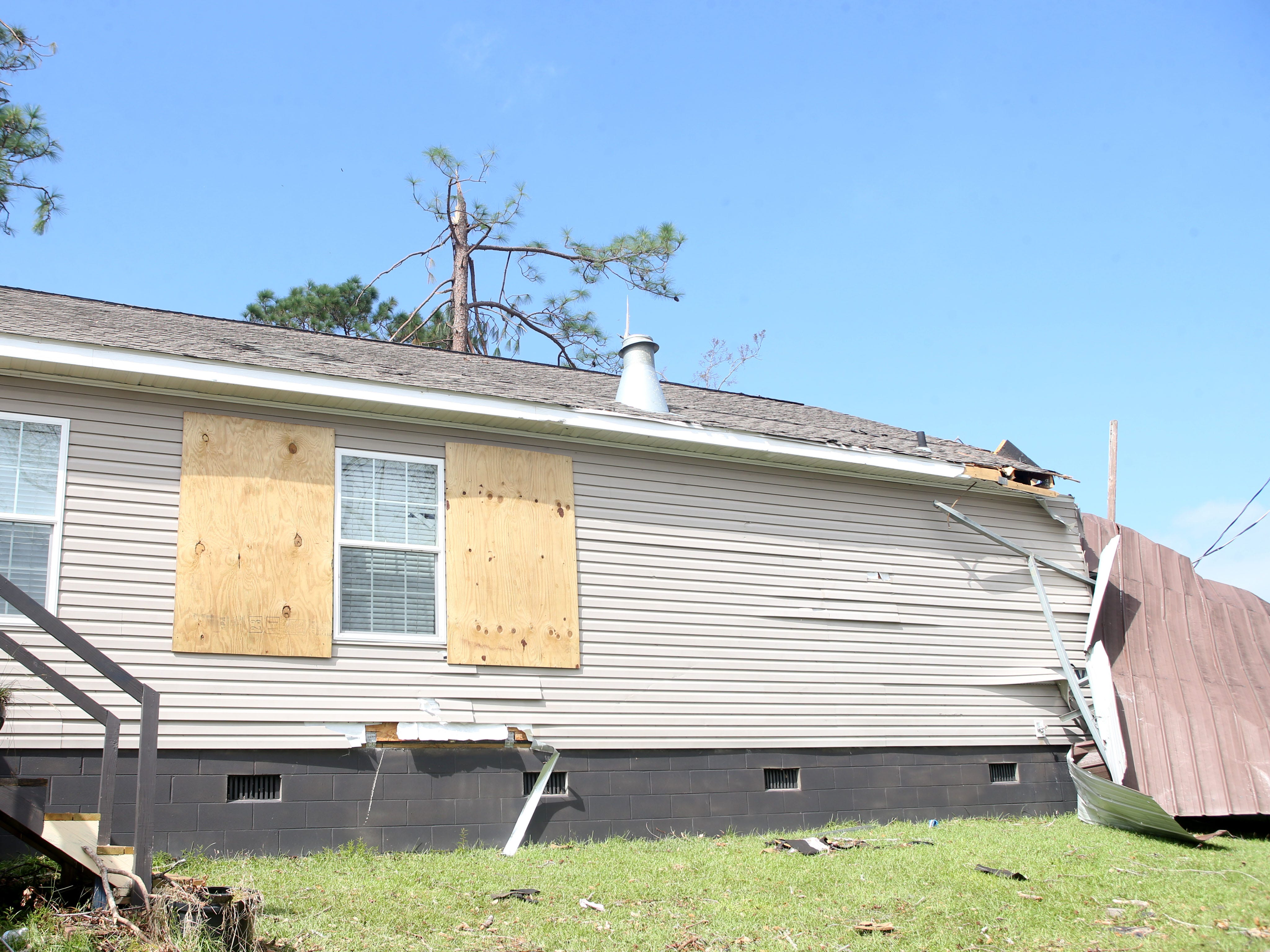 The back of Eugene and Elizabeth Radney's home, where Sarah Radney, an 11 year old girl who died during Hurricane Michael in Donalsonville, Ga., on Thursday, Oct. 18, 2018.