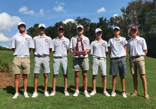 Chiles' boys golf team captured a District 1-3A title on Wednesday at Hilaman Golf Course, shooting a 294 total. From left: Charlie Wilkey, Hayden Smith, Jake Springer, medalist Parker Bell, Drew Miller, Aiden Ash, Sanders O'Kelley.