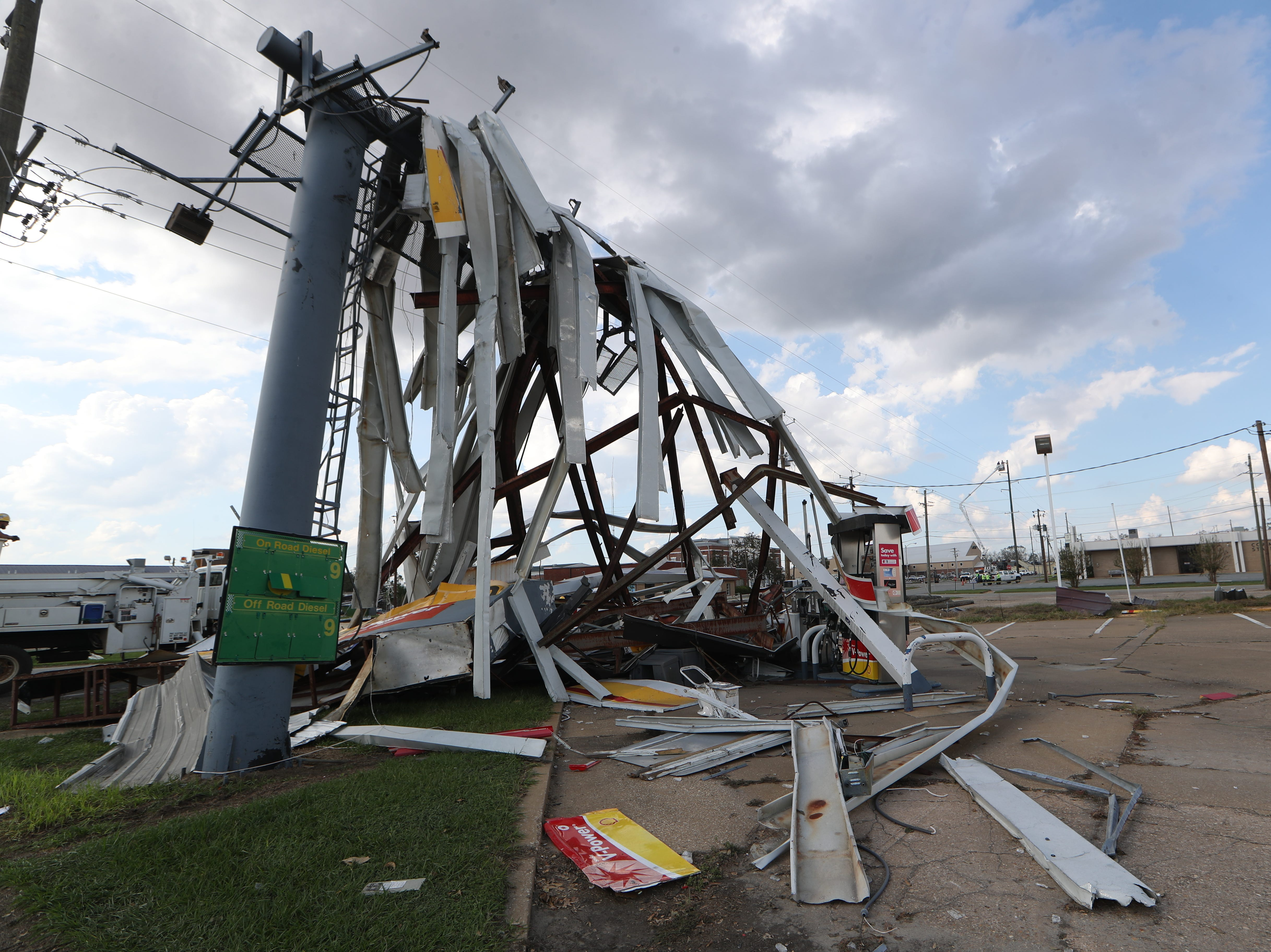 The Shell gas station on West Third Street in Donalsonville, Ga. is destroyed in the aftermath of Hurricane Michael Wednesday, Oct. 17, 2018.