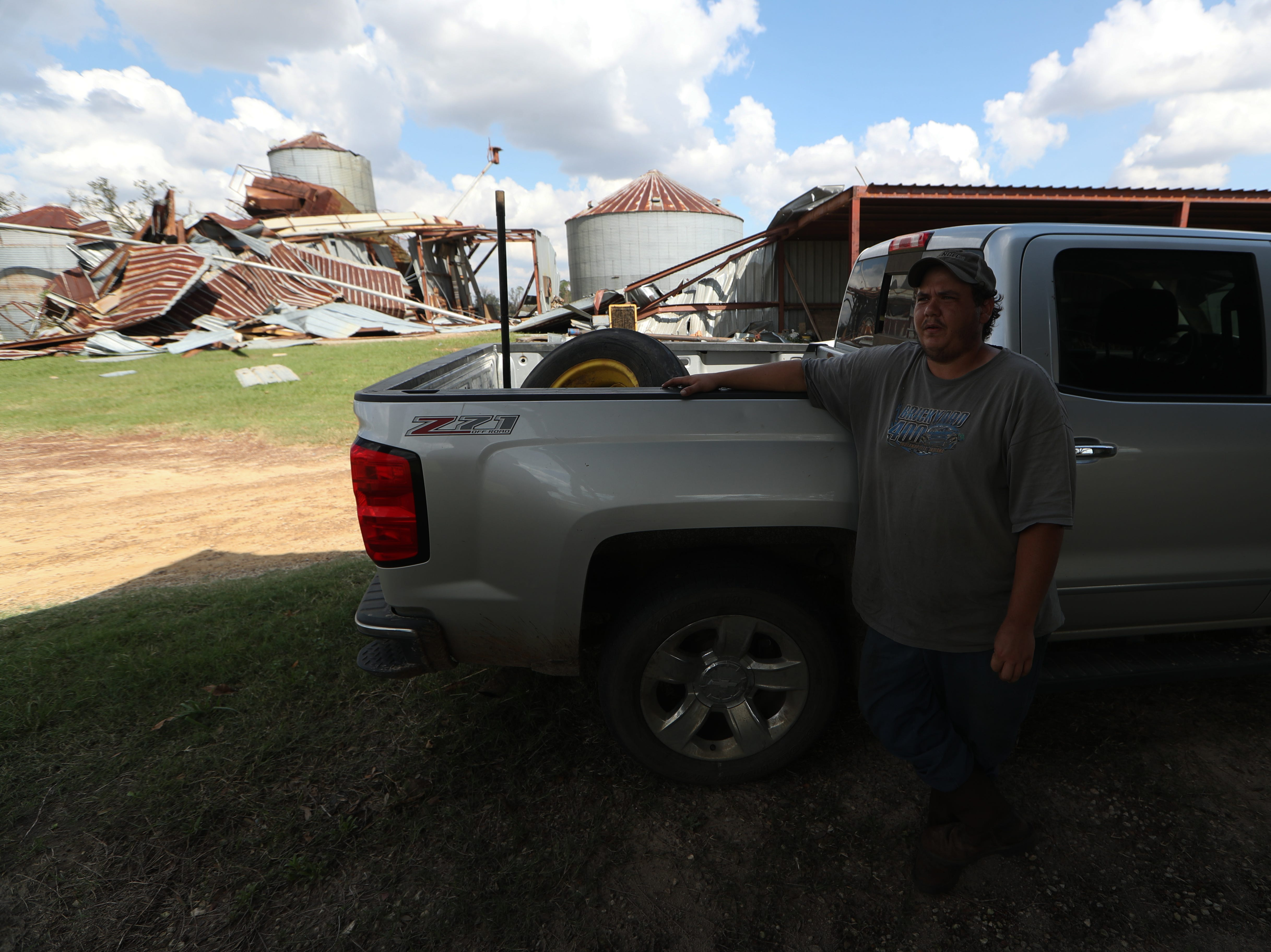 Ryan Sweat, Progressive Pecans supervisor, talks about the huge loss of the pecan crop just before harvest season because of Hurricane Michael Wednesday, Oct. 17, 2018 at Seldom Rest Farm in Donalsonville, Ga.