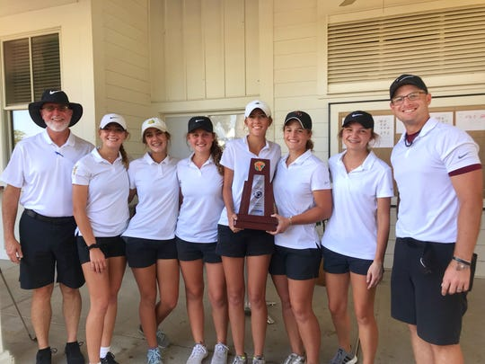 Florida High's girls golf team won its first district title in school history on Thursday at Southwood Golf Club. From left: assistant coach Neal Trafford, Lauren Kreis, Olivia Dean, Emma Conrad, Jordan Jones, Savannah Bonn, Hailey Barrow, head coach Cory Cloud.