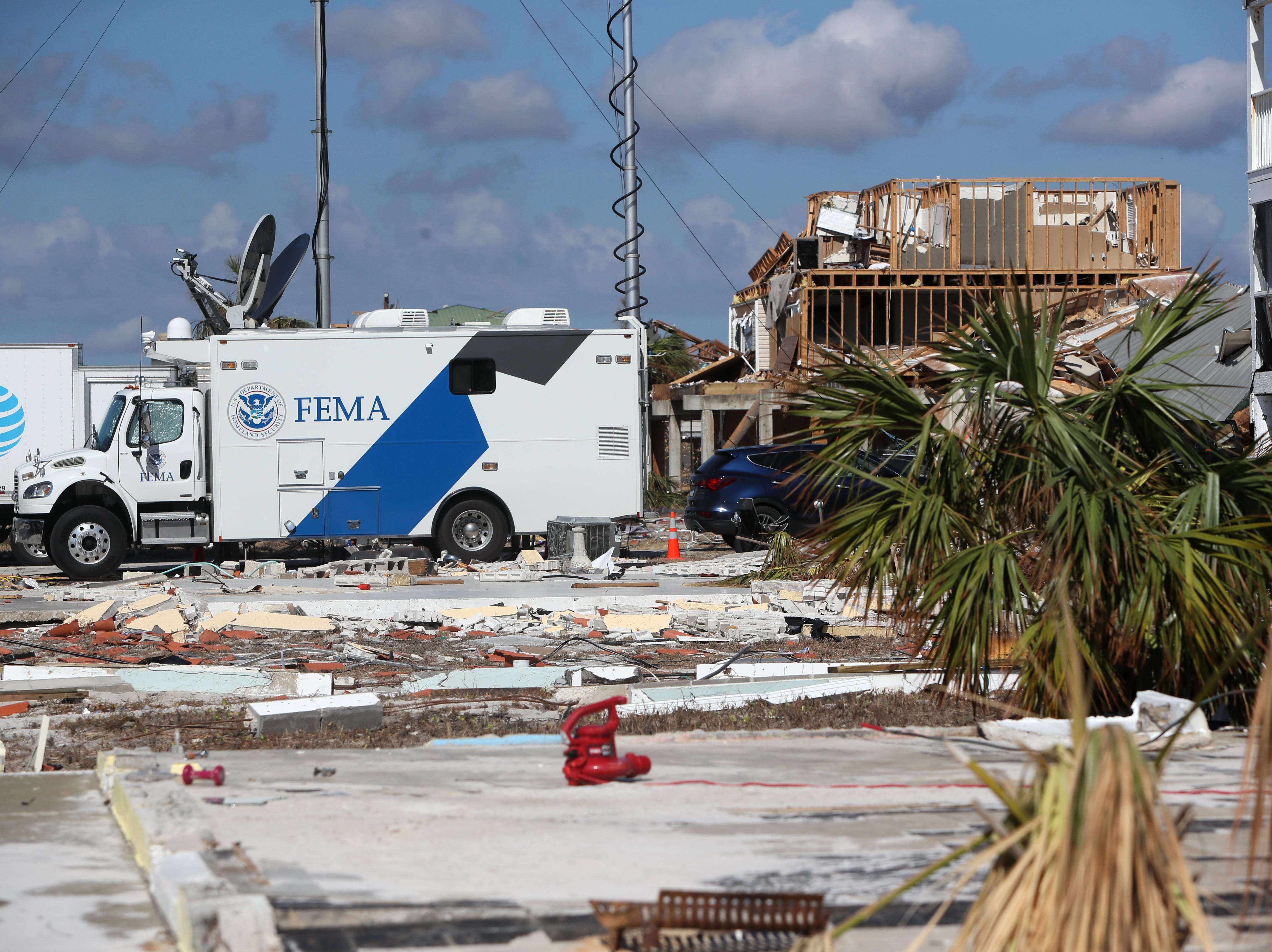 FEMA has set up multiple mobile command units in Mexico Beach on Wednesday, Oct. 17, 2018, one week after Hurricane Michael ripped through the coastal Florida town.