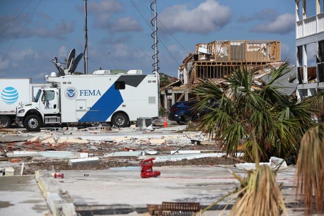 A FEMA mobile command center in Mexico Beach.