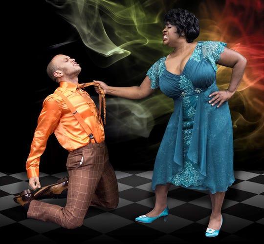 "Andre Jordan and Jayne Trinette star in Riverside Theatre's ""Smokey Joe's Cafe."""