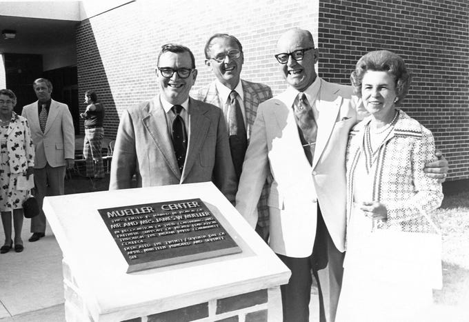 The first branch campus of Indian River State College opened in Indian River County in 1976 and was named in honor of James and Valeda Mueller, right, who donated the land. Also pictured are Ira McAlpin, District Board of Trustee member, left, and Dr. Herman Heise, middle, former college president.