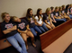 Team members of the Vero Beach Lacrosse team sit in the back row of Circuit Judge Robert Pegg's courtroom during a hearing to determine their elligability to conntinue playing in the lacrosse state playoffs. 4/21/2009