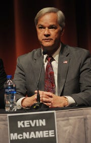 Candidate Kevin McNamee speaks at the Thousand Oaks City Council candidates forum Wednesday night at the Scheer Forum Theatre. The event was sponsored by the League of Women's Voters.