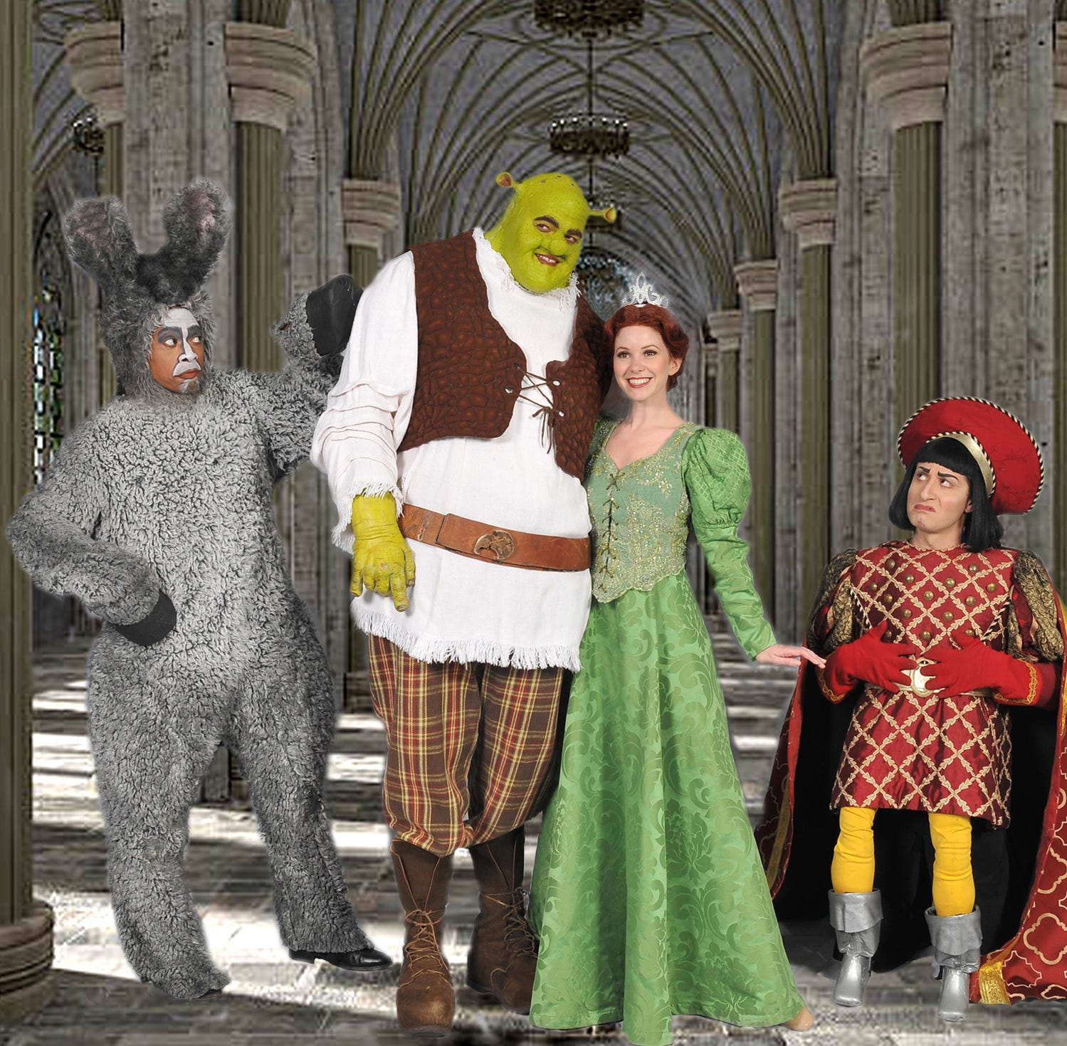 """Shrek the Musical"" opens Friday, launching 5-Star Theatrical's 2018-19 season, now led by Patrick Cassidy as the artistic director. The cast of ""Shrek the Musical"" includes, from left, Lawrence Cummings, Trent Mills, Alison Woods and Marc Baron Ginsburg."