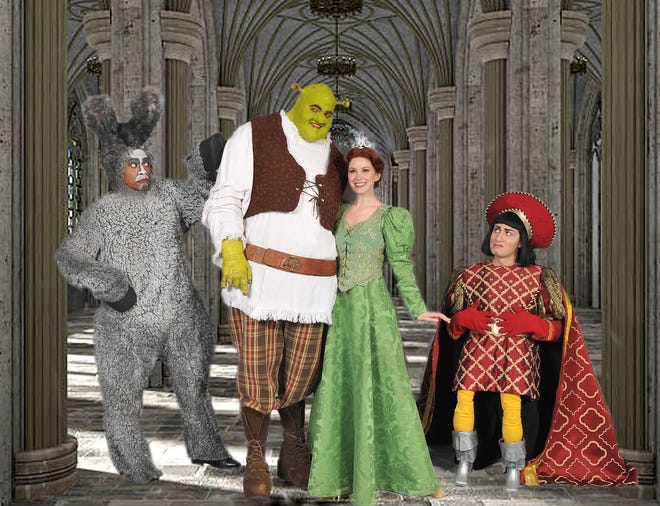 """""""Shrek the Musical"""" opens Friday, launching 5-Star Theatrical's 2018-19 season, now led by Patrick Cassidy as the artistic director. The cast of """"Shrek the Musical"""" includes, from left, Lawrence Cummings, Trent Mills, Alison Woods and Marc Baron Ginsburg."""