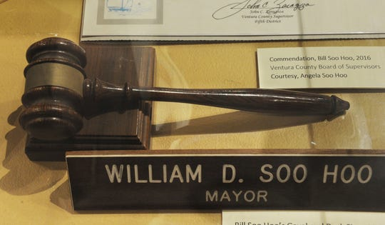 The gavel used by Bill Soo Hoo, Oxnard's former mayor, is seen in an exhibit at the Museum of Ventura County in 2016.