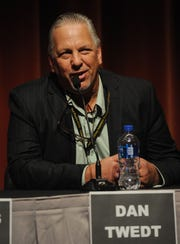 Candidate Dan Twedt speaks at the Thousand Oaks City Council candidates forum Wednesday night  at the Scheer Forum Theatre. The event was sponsored by the League of Women's Voters.